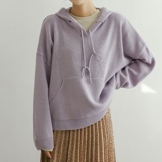 JUSTONE - Drop-Shoulder Kangaroo-Pocket Knit Hoodie