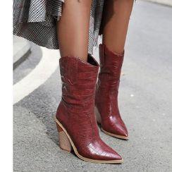 Freesia - Chunky-Heel Croc Grain Short Boots