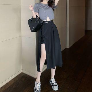 Metonymph - Short-Sleeve Slit-Hem Crop Top / Buckled Slit Midi A-Line Skirt