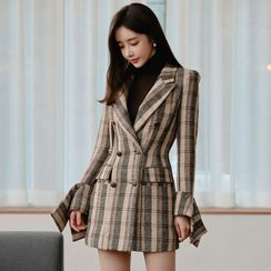 Kevina - Plaid Double Breasted Coat Dress