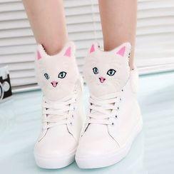 MANMANNI - 貓裝飾繫帶休閒鞋