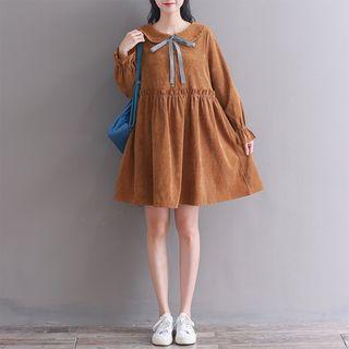Fancy Show - Corduroy Long-Sleeve A-Line Dress