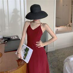Dicezone - Halter-Neck Side-Slit Max A-Line Dress