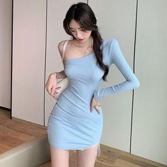 Tidel - Long-Sleeve One-Shoulder Mini Sheath Dress