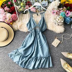 Yearnin - Crochet-Lace-Detail V-Neck Sleeveless Dress