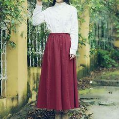 Sulis - High Waist Midi A-Line Skirt