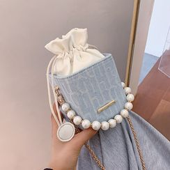 Skyglow - Faux Pearl Drawstring Bucket Bag