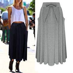 VIZZI - Lace Up Plain Midi Skirt