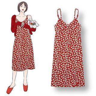 Demain - Plain Cardigan / Flower Print Spaghetti Strap Midi Shift Dress