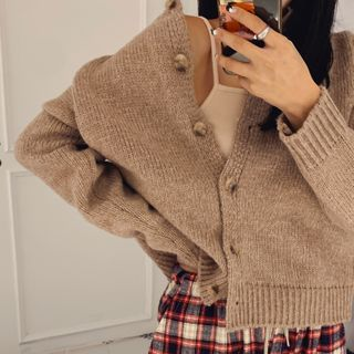 LIPHOP - Round-Neck Loose-Fit Cardigan