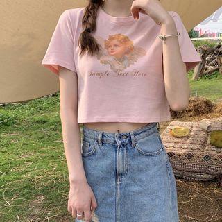 The Cat's Den - Short-Sleeve Angel Print Cropped T-Shirt