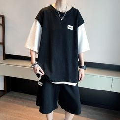 Whyessa - Set: Short Sleeve Mock Two-Piece Oversized Top + Sweatshorts