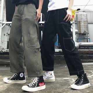 Porstina - 饰缝线侧袋宽腿裤