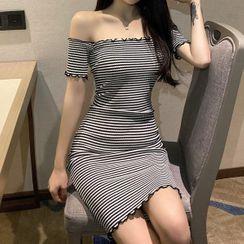 Maine - 短袖露肩条纹迷你塑身连衣裙