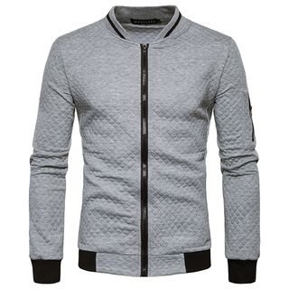 Sheck - Contrast-Trim Quilted Zip Jacket