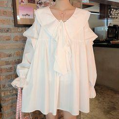 AKANYA - Ruffle Long-Sleeve Shift Dress