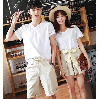 Solaria - Couple Matching Plain Short-Sleeve T-Shirt / Shorts / Skort / Set