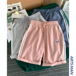 Bay Go Mall - Contrast Striped Drawstring Shorts