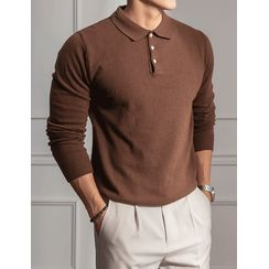 STYLEMAN - Wool Blend Knit Polo Shirt in 10 Colors
