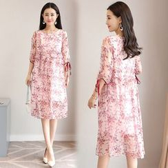 Sienne - Floral Print Elbow-Sleeve Silk Dress