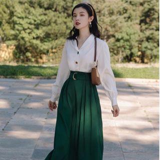 Glaypio - Set: Plain Shirt + Midi A-Line Skirt