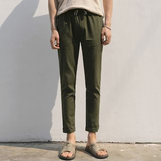MRCYC - Drawstring-Waist Cropped Straight Leg Pants