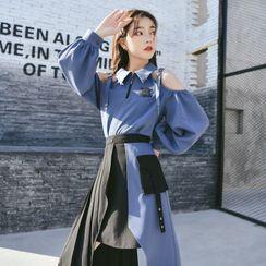 Moriville - Cold Shoulder Sweatshirt / Midi A-Line Skirt