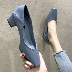 Asterisk - 方形鞋頭粗跟鞋