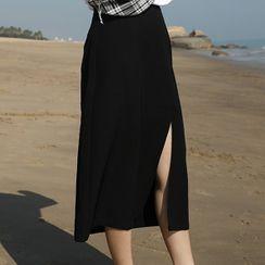 KIMOMIIN - Midi A-Line Slit Skirt