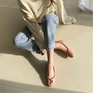 MONOBARBI - Oval-Toe Contrast-Piping Flats