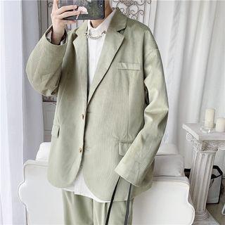 Skeggi - Set: Pinstriped Blazer + High-Waist Straight-Fit Pants