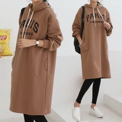 Seoul Fashion - 'PARIS' Letter Hoodie Dress