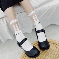 Rivara - Mesh Panel Rabbit Print Socks