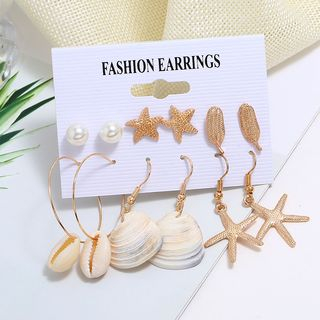 Yeoleum - 6-pair Set: Faux Pearl / Shell Earring (assorted designs)