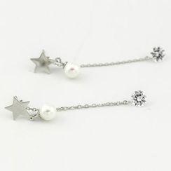CHOSI - 925 纯银仿珍珠水钻星星耳坠