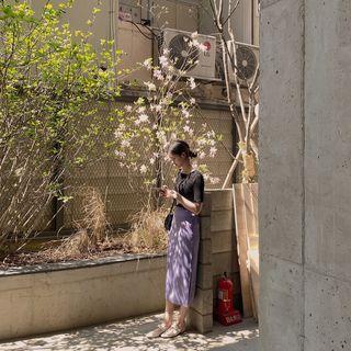 CHERRYKOKO - Slit-Side H-Line Long Skirt