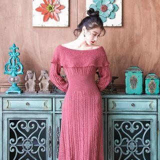 Glaypio - Long-Sleeve Knit Midi Sheath Dress