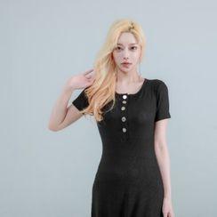 clubber - Half-Placket Slit-Side Ribbed Long Dress