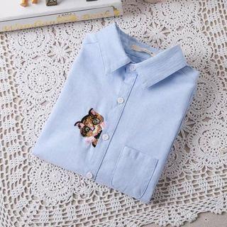 Aigan - 长袖刺绣猫咪衬衫