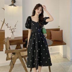 Levsayte - Maternity Puff-Sleeve Midi A-Line Dress