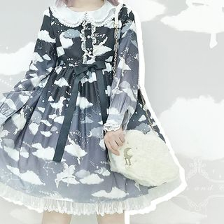 Tomoyo - Long-Sleeve Printed A-Line Dress