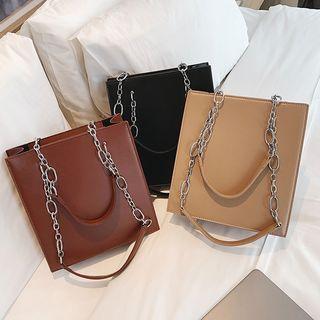 sunsquared - Square Chain Strap Faux Leather Tote Bag