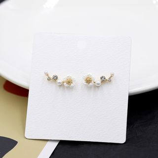 Scoria - Flower Ear Stud / Clip On Earring