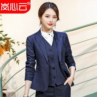 Skyheart(スカイハート) - Pinstripe Peak Lapel Blazer/ Slim-Fit Dress Pants/ Mini Pencil Skirt/ Shirt/ Buttoned Vest/ Set