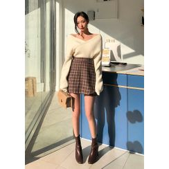 chuu - Band-Waist Plaid Miniskirt