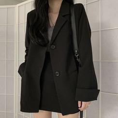 Sukol  - 纯色宽松西装外套/高腰迷你裙