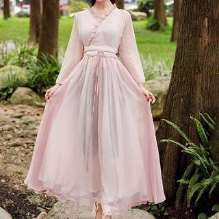 Kokuko - Traditional Chinese Long-Sleeve Frill Trim A-Line Maxi Chiffon Dress