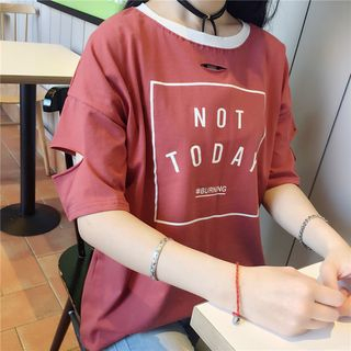 Tiny Times - Cutout Print Ringer T-Shirt