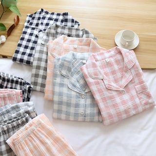 Dogini - Pajama Set: Long-Sleeve Gingham Top + Pants