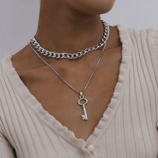 Seirios - 合金钥匙吊坠多层贴脖项链
